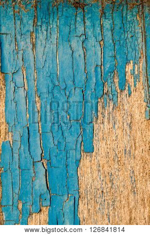 Faded Blue Paint On Aged Wood