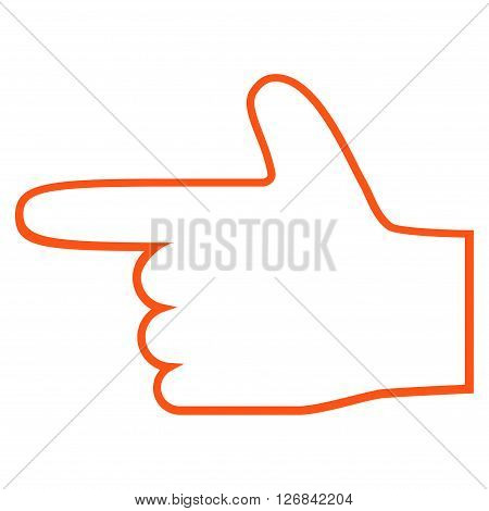Hand Pointer Left vector icon. Style is outline icon symbol, orange color, white background.