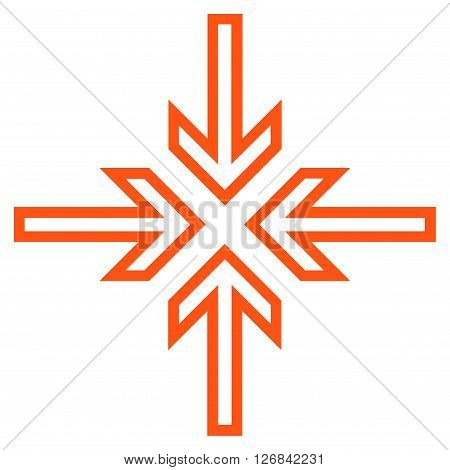 Implode Arrows vector icon. Style is thin line icon symbol, orange color, white background.
