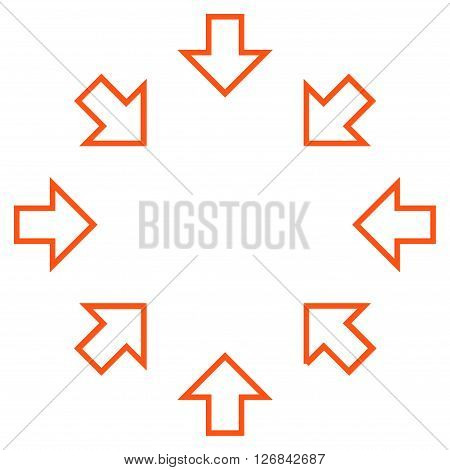 Pressure Arrows vector icon. Style is contour icon symbol, orange color, white background.