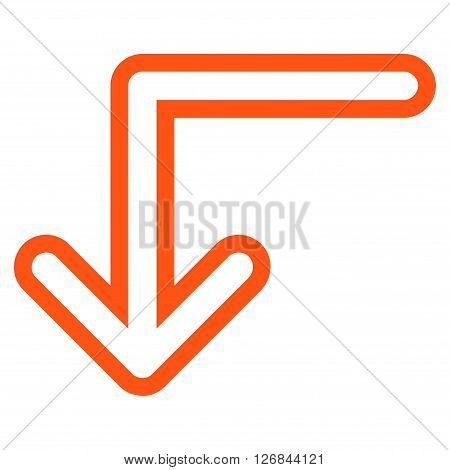 Turn Down vector icon. Style is contour icon symbol, orange color, white background.