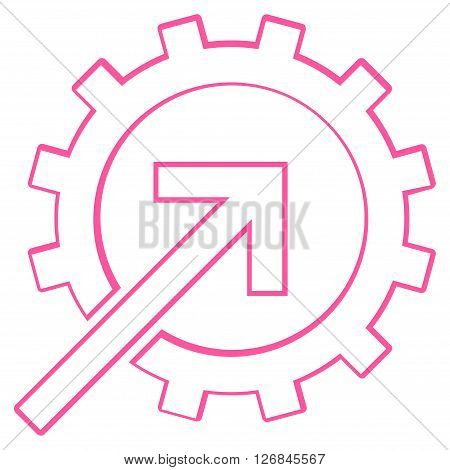 Integration Arrow vector icon. Style is stroke icon symbol, pink color, white background.