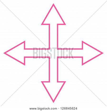 Maximize Arrows vector icon. Style is thin line icon symbol, pink color, white background.