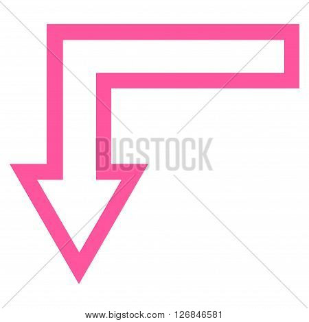 Turn Down vector icon. Style is outline icon symbol, pink color, white background.