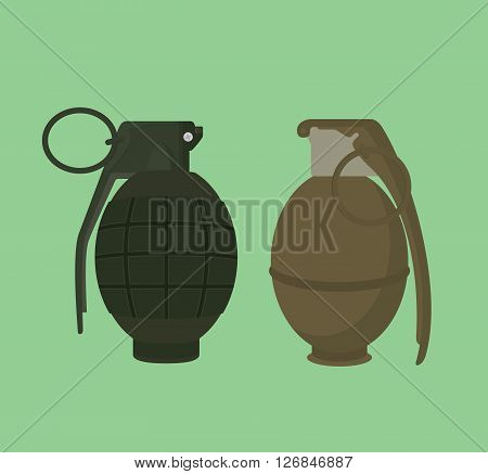 grenade isolated illustration vector with green background vector