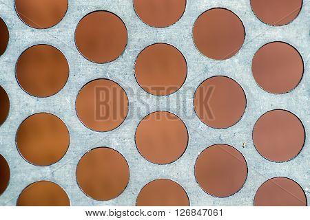 Macro Of Rusty Circle Metal Vent Texture