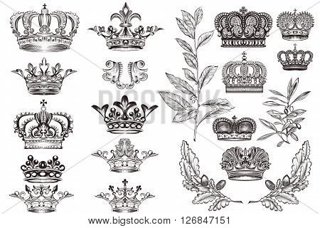 High detailed crowns set or collection in vintage heraldic style for design