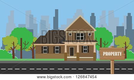 property building home with wood sign board vector illustration
