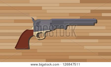 civil war pistol gun with wood table background vector illustration