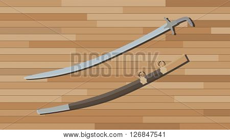 arabian sword with wood table background vector illustration