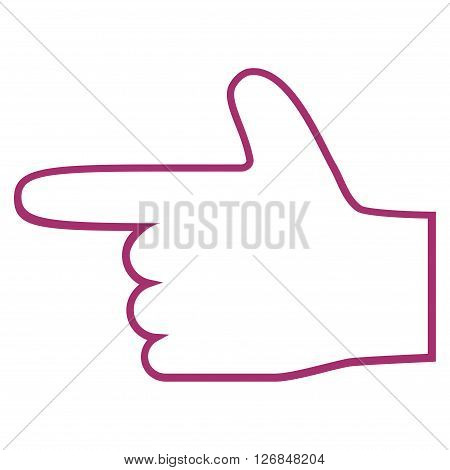 Hand Pointer Left vector icon. Style is stroke icon symbol, purple color, white background.
