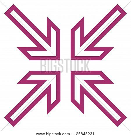 Implode Arrows vector icon. Style is stroke icon symbol, purple color, white background.