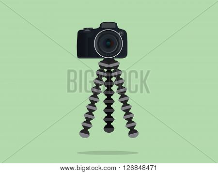 camera slr dslr tripod with gorilla style vector