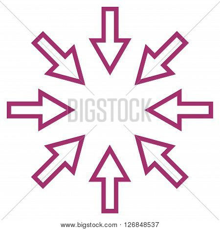 Pressure Arrows vector icon. Style is stroke icon symbol, purple color, white background.