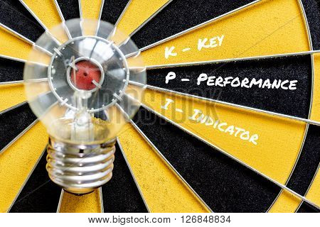 KPI key performance indicator with idea bulb lamp target on dartboard background Smart goals concept for success business