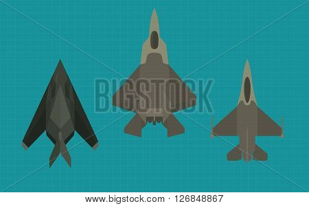 jet fighter collection view from top vector illustration