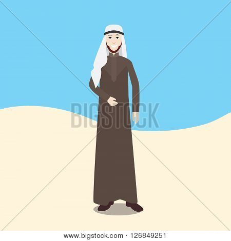 arabian men isolated with desert and sky background vector illustration