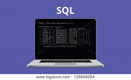 sql syntax programming illustration with laptop and code program vector illustration