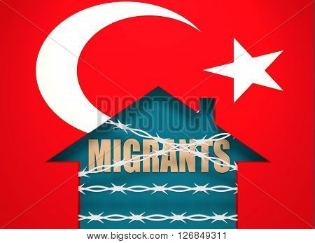 Image relative to migration to European Union. Barbed wire closed home icon textured by Turkey flag. 3D rendering