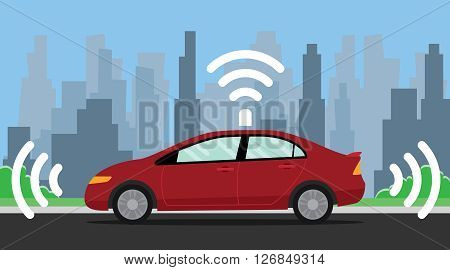 self driving car illustration with red color on the road vector illustration