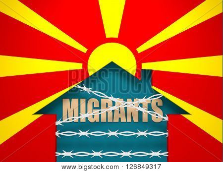 Image relative to migration to European Union. Barbed wire closed home icon textured by Macedonia flag. 3D rendering