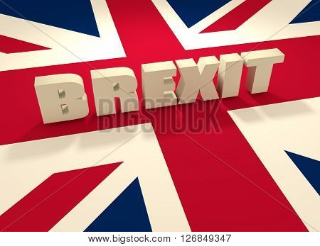 United Kingdom exit from europe relative image. Brexit named politic process. Referendum theme. Brexit text above United Kingdom flag. 3D rendering