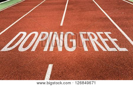 Doping Free written on running track