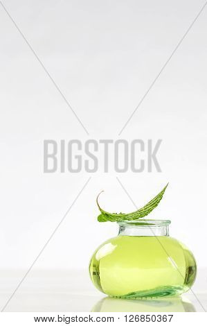 Herbal medicine glass bottle with mint oil