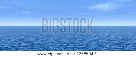3D illustration concept or conceptual sea or ocean water waves and sky cloudscape exotic or paradise background banner