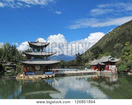 LIJIANG CHINA - OCT 18 : Heilongtan Black dragon pool in Lijiang Yunnan China on October 182015