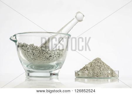 Green clay in glass mortar Composition with cosmetic clay for spa treatments