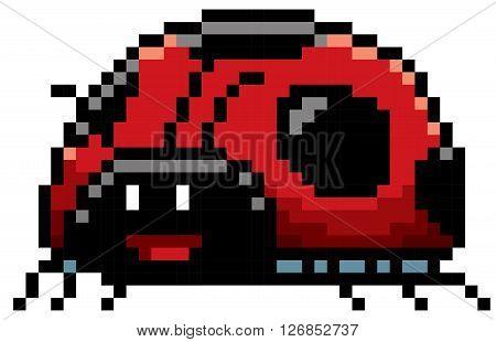 Vector illustration of cartoon Lady bug - Pixel design