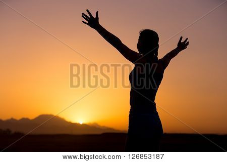 Happy Young Female In Beautiful Landscape
