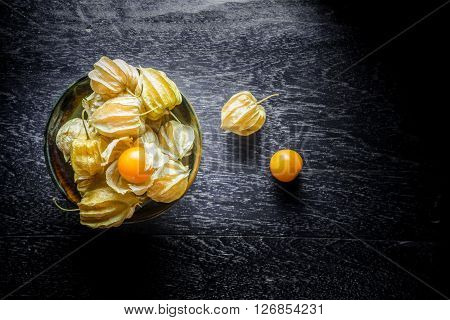 Closeup Orange Organic Cape Gooseberries On Wooden Background