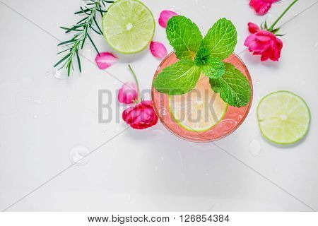 Refreshing Summer Drink With Strawberry In Glasses