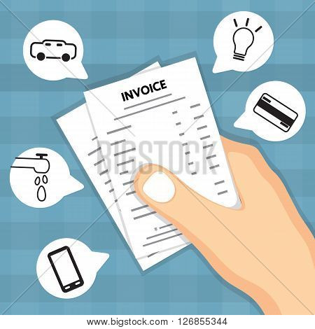 Hand holding invoice. Vector design for business
