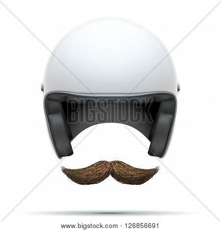 Motorcyclist symbol with mustache.  Illustration isolated on white background.