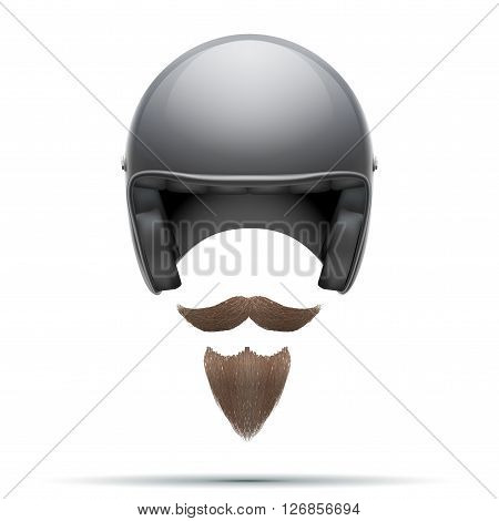 Motorcyclist symbol with mustache and beard.  Illustration isolated on white background.