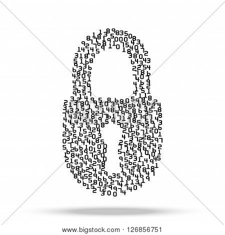 Simple icon of digital lock visually composed of many digits isolated on background.