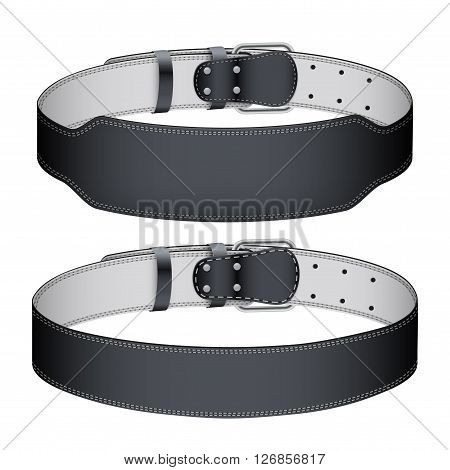 Set of Mockup Sport Weightlifting GYM Belts with space for your brands. Wide and narrow models. 3D Illustration isolated on white background.