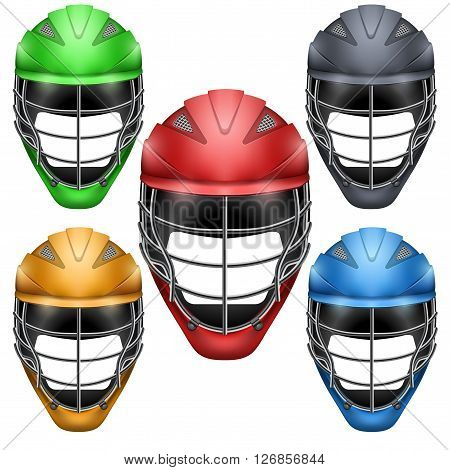 Set of Lacrosse Helmets Side View. Sports   illustration isolated on white background.