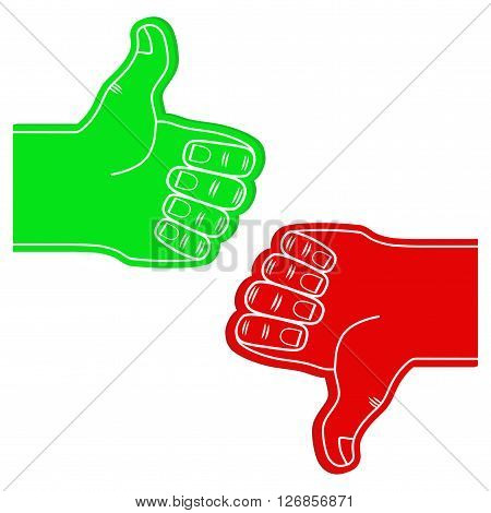 Set of Sports Fans Foam Fingers Like and Dislike.  Illustration Isolated on white background.