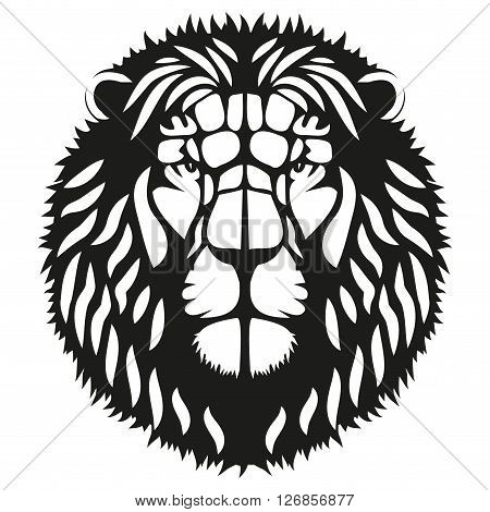 Symbol of head of the lion. Mascot or logo for your design.  Illustration isolated on background.