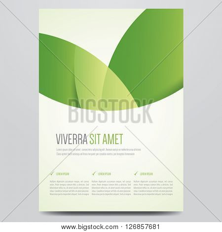 Brochure, flyer, annual report, magazine cover, poster vector template. Modern green corporate design.