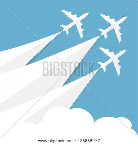 Vector poster with airplanes, minimalistic style, card for travel agencies, aviation companies. Jets in blue sky