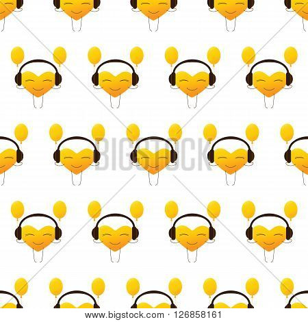 Seamless pattern with repeating golden colored cartoon heart character in headphones with balloons isolated on white background. Design element. Greeting card. Invitation template