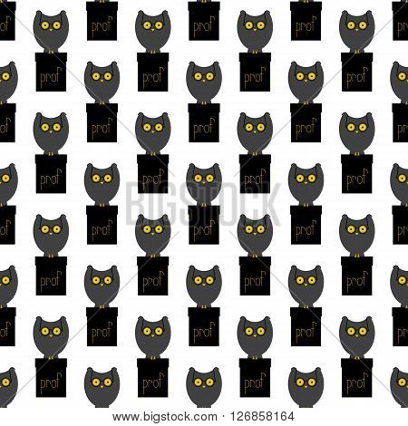 Seamless pattern with big grey owl with large eyes in old-fashioned round spectacles sitting on black cathedra with yellow lettering prof on it isolated on white background. Flat style illustration