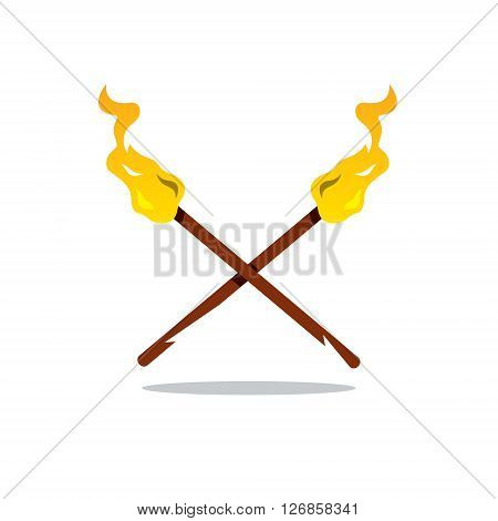 Crossed flaming torches Isolated on a White Background