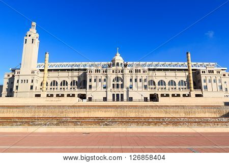 Barcelona Olympic Stadium (estadi Olimpic Lluis Companys) Facade, Spain