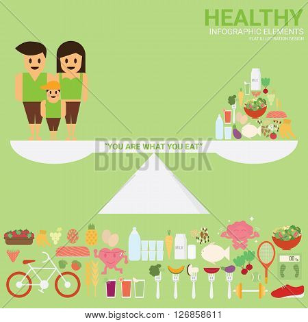 Healthy Family. Healthy food. Healthy sport and activity. Healthy concept with infographic elements flat illustration design.